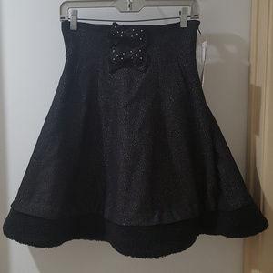 black gothic lolita wool high waist corset skirt